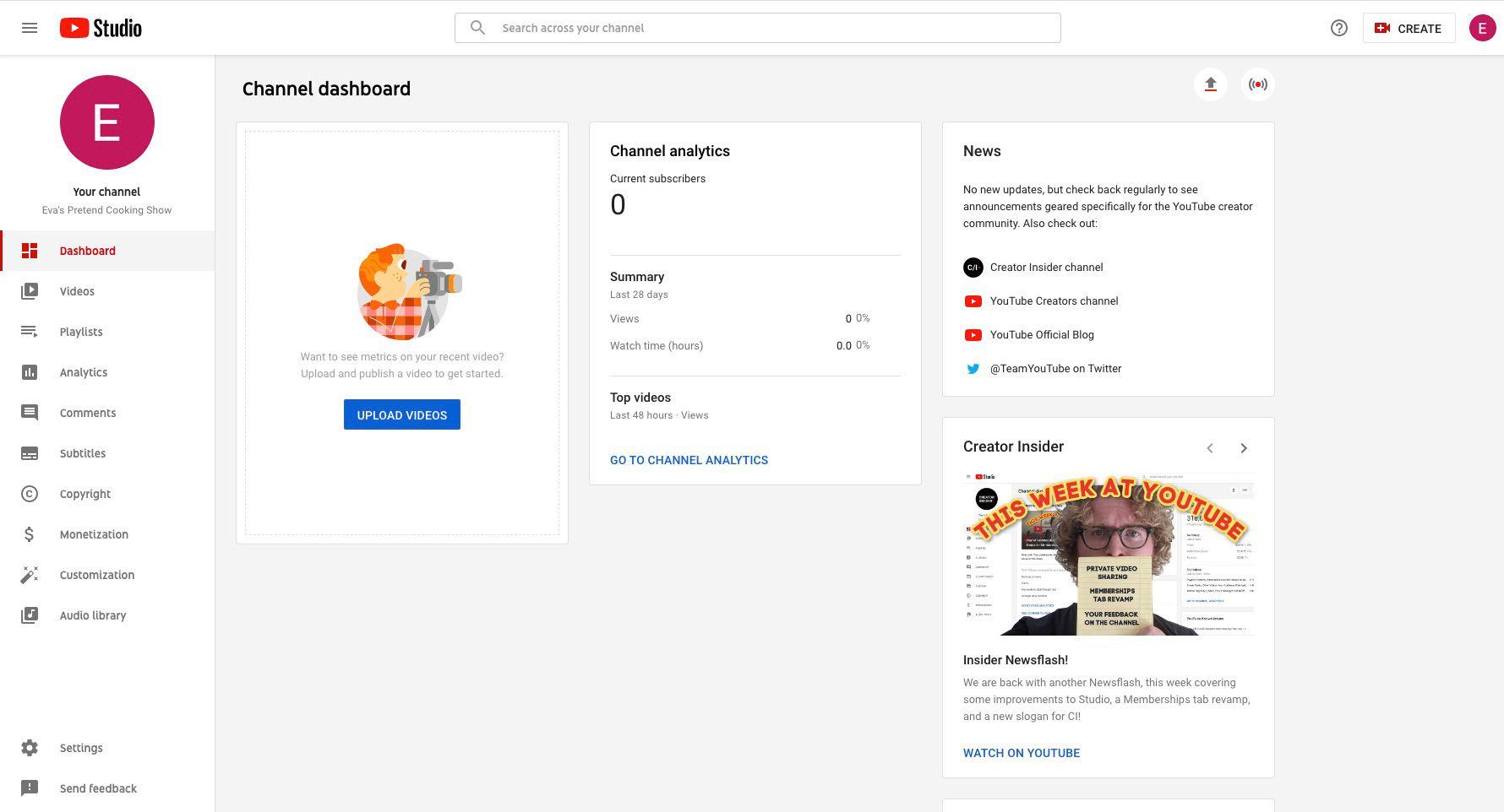 YouTube channel's YouTube Studio dashboard