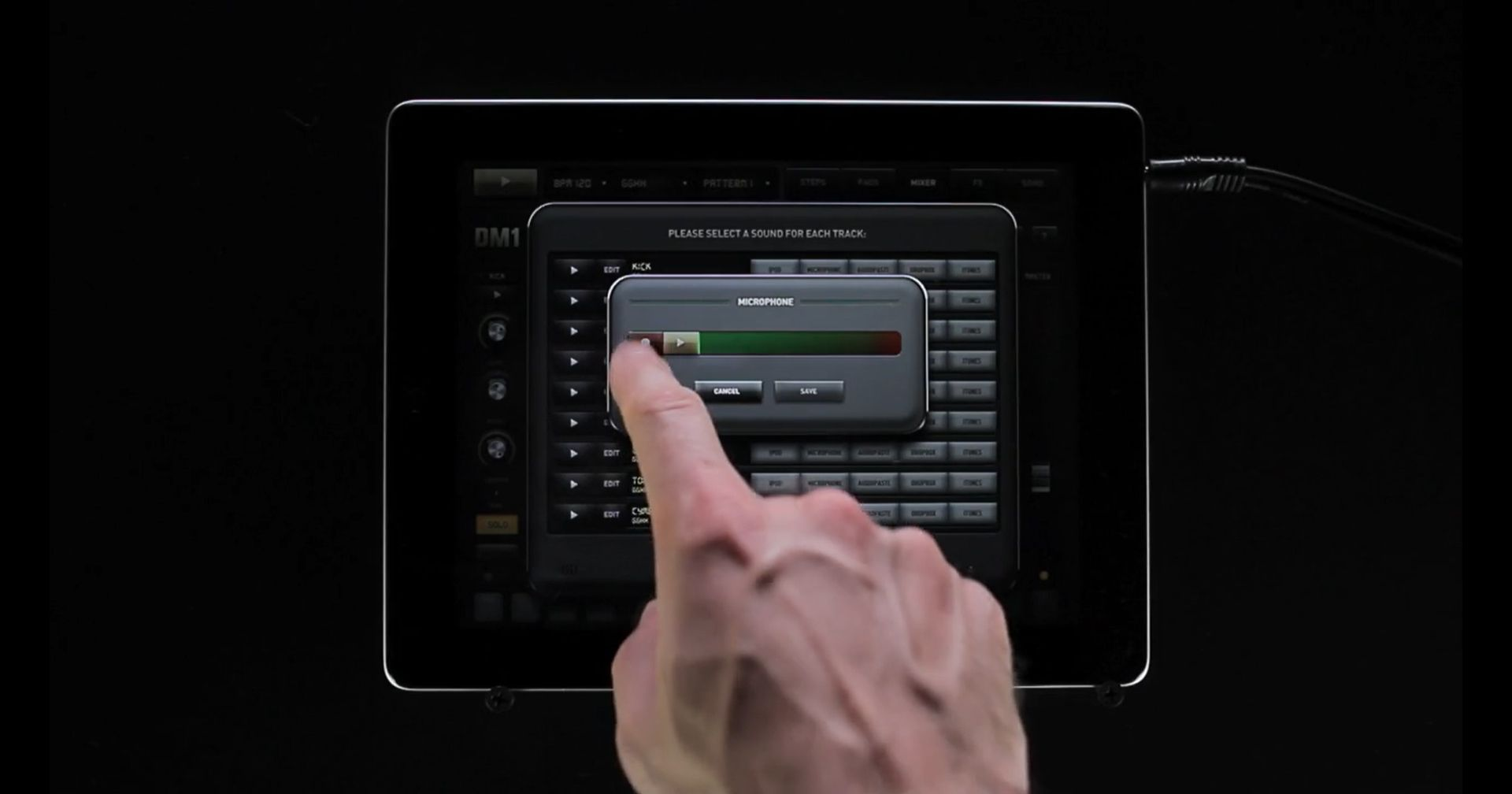 Product shot of the DM1 app for iPad