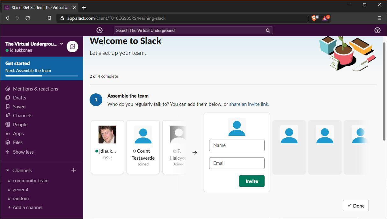 A screenshot of setting up Slack.