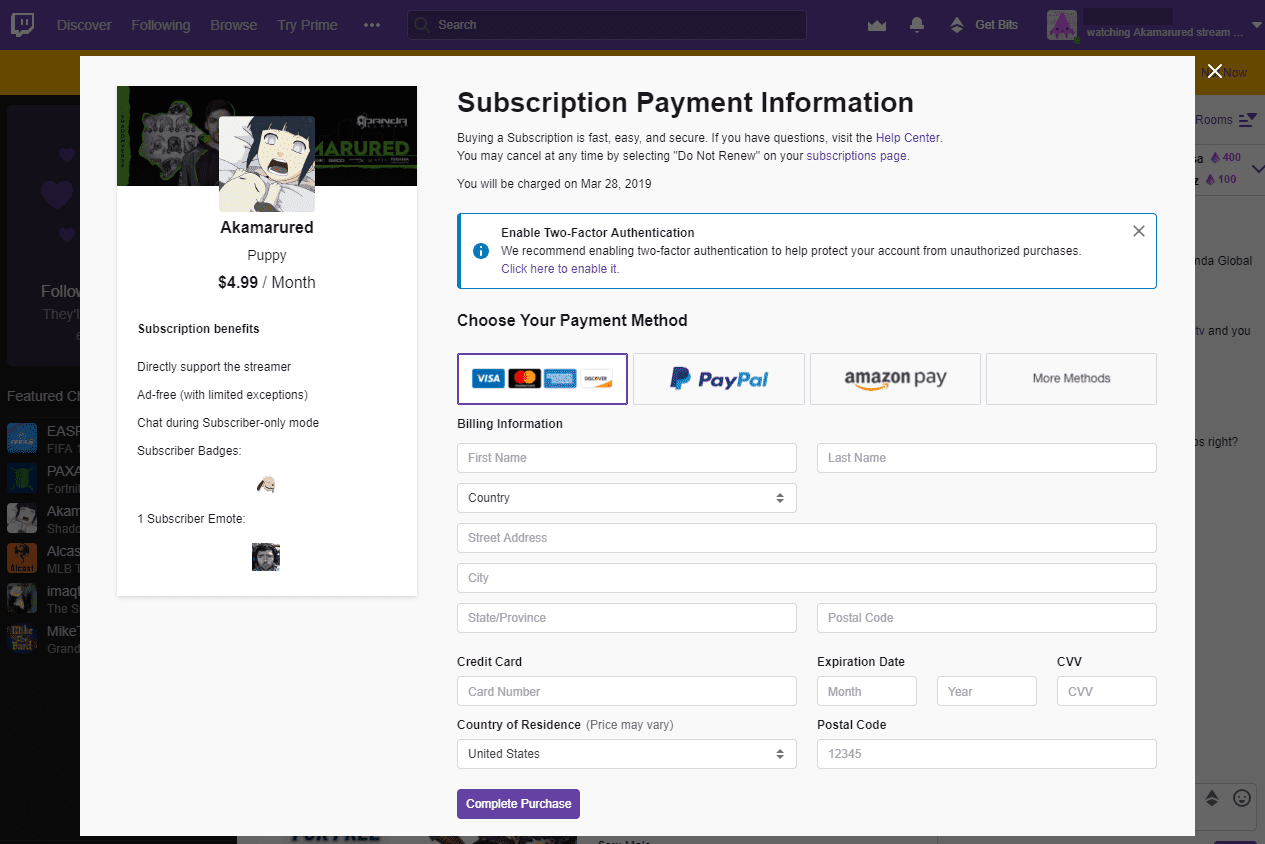 Twitch subscription payment information page for Akamarured