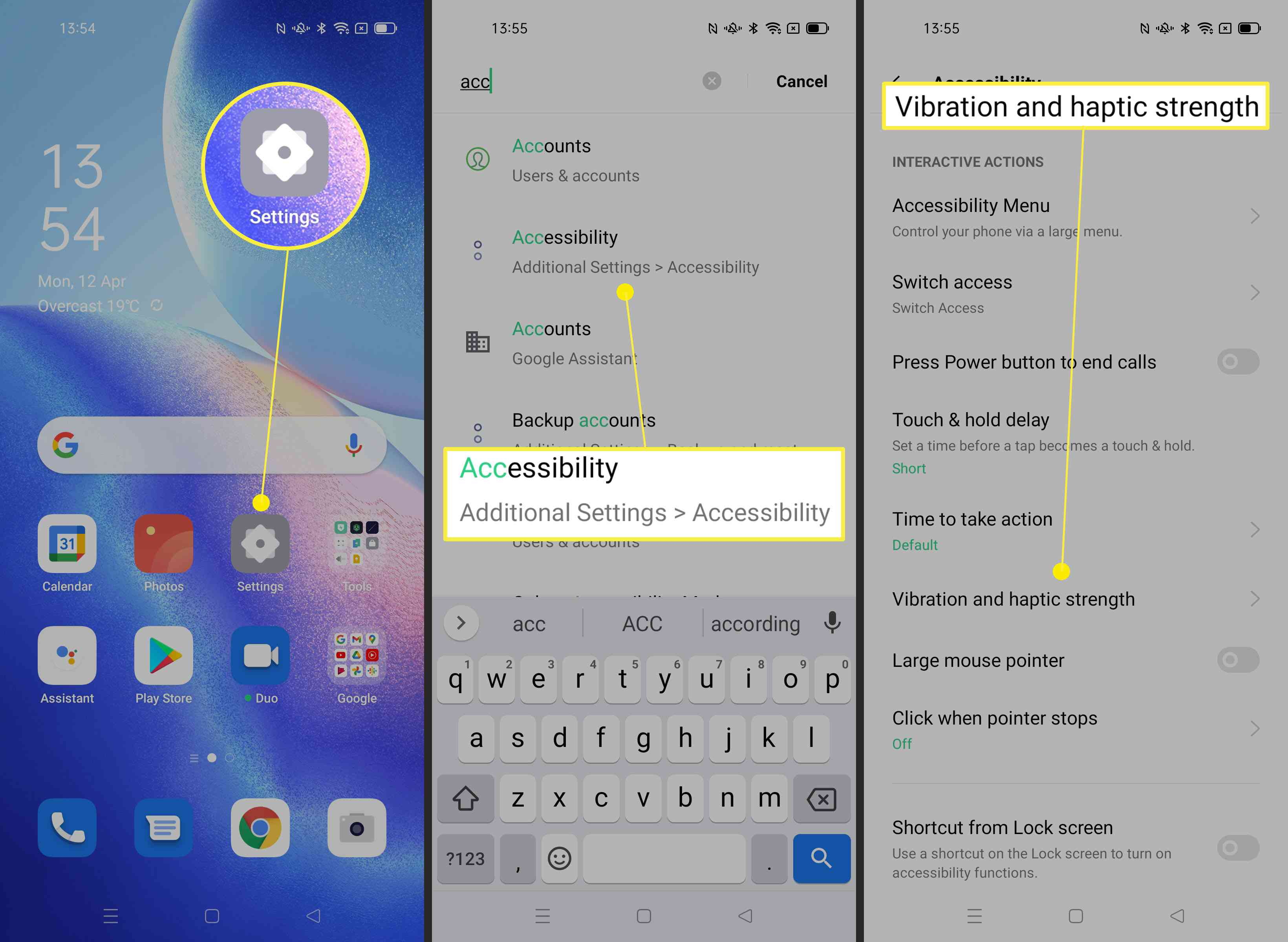 Steps required on Android phone to change vibration settings via Accessibility settings