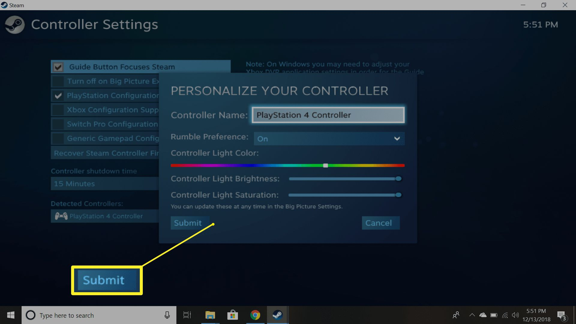 Personalize your Steam PS4 controller settings