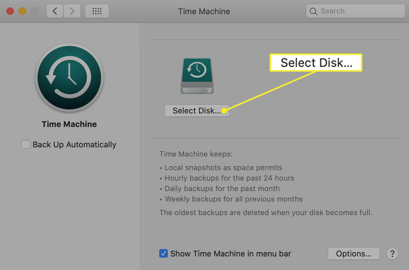Time Machine preferences with Select Disk highlighted