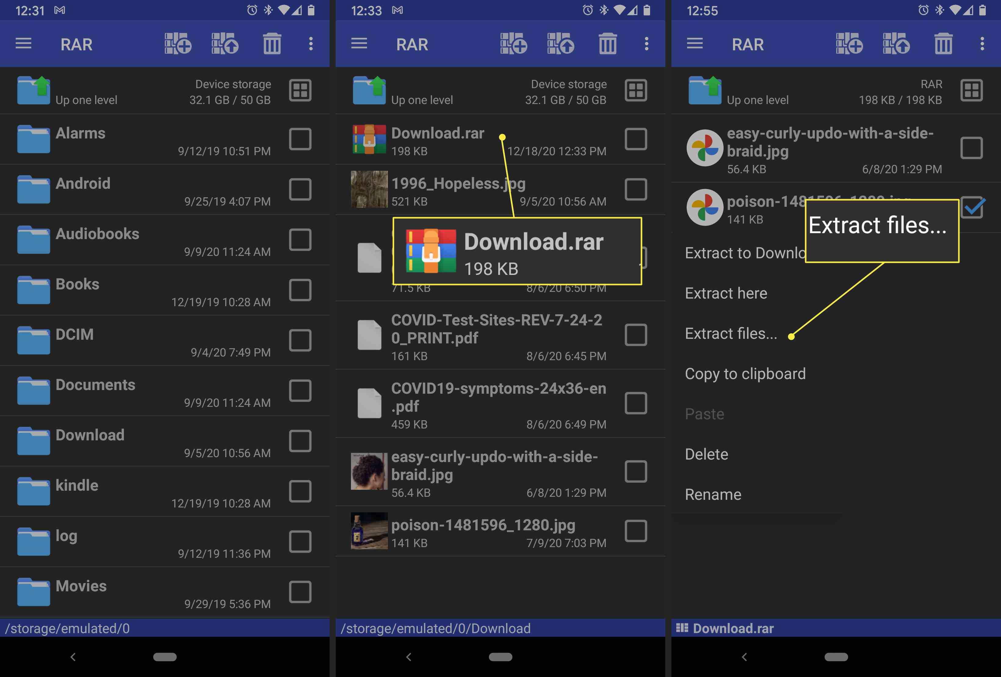 An Android user extracts a file with the RAR app