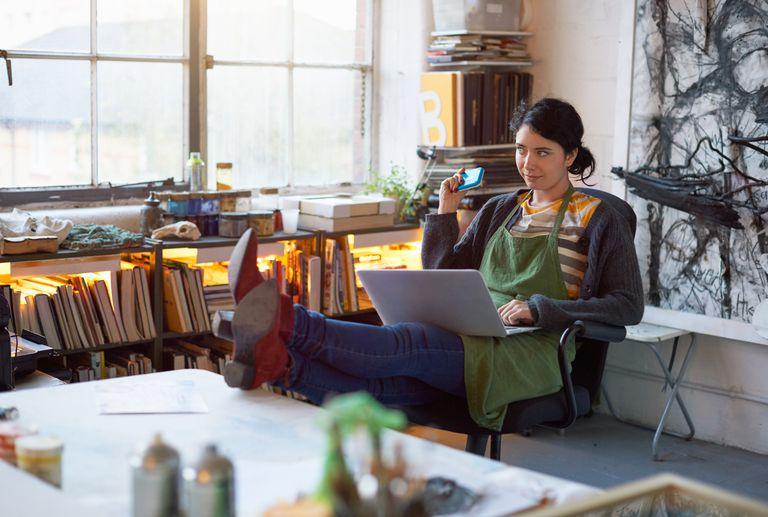 Woman sitting in studio