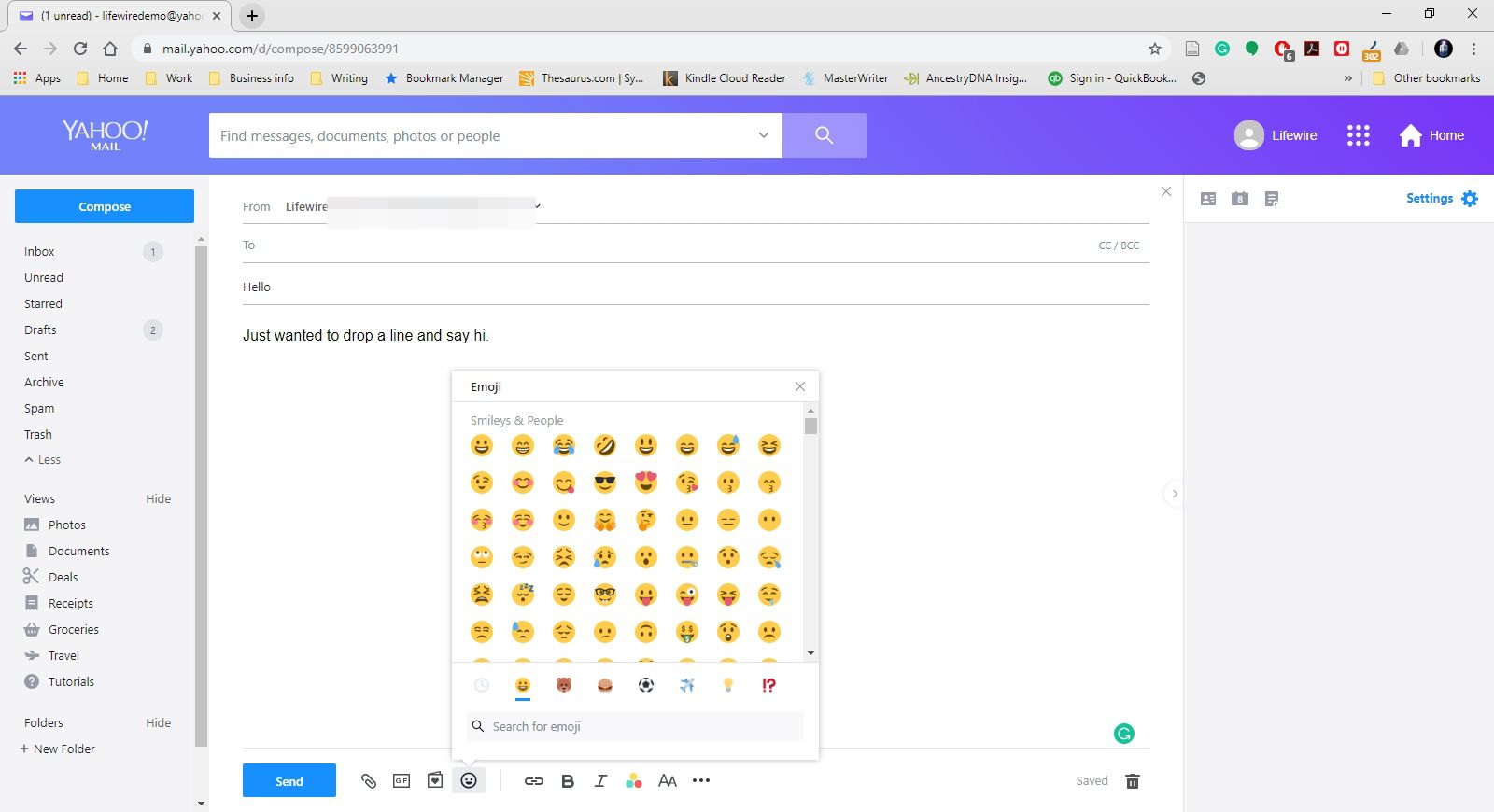 The insert emojis menu in Yahoo Mail.