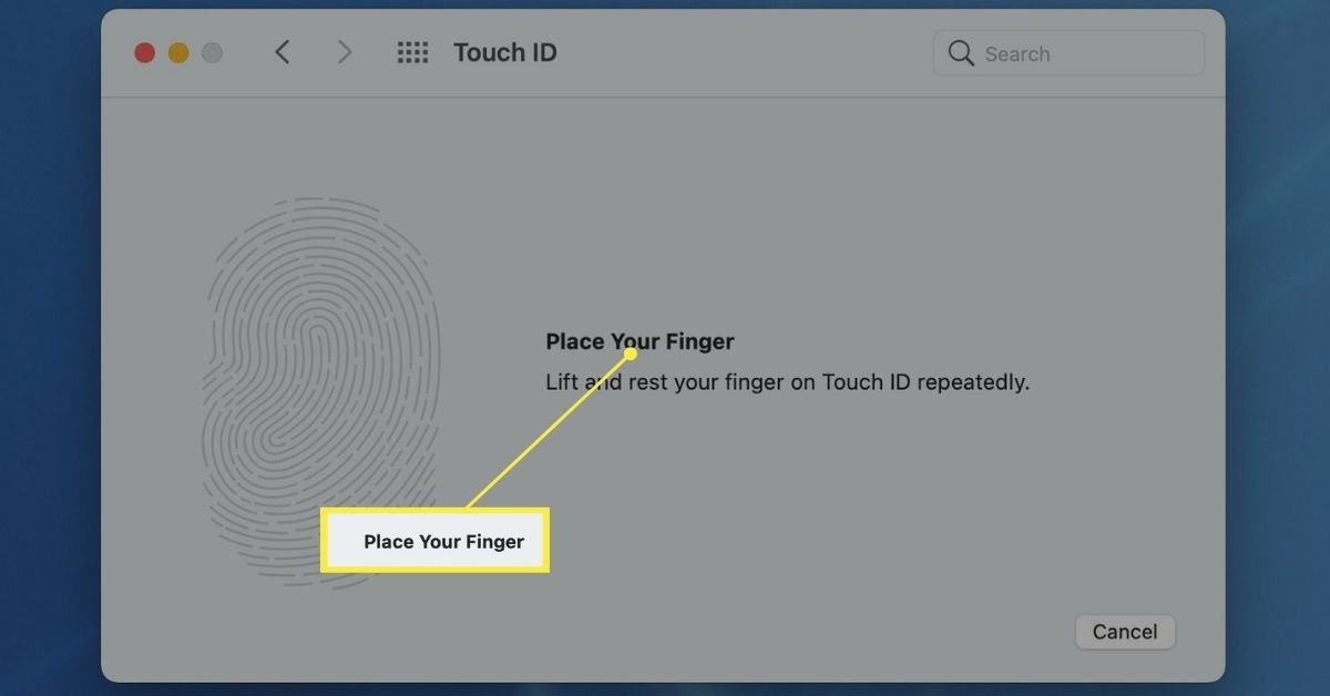 Prompt to place your finger on the Touch ID key repeatedly