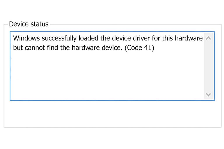 Screenshot of the Code 41 error that reads Windows successfully loaded the device driver for this hardware but cannot find the hardware device