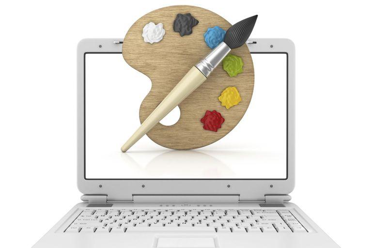 Painter's pallete superimposed upon a laptop