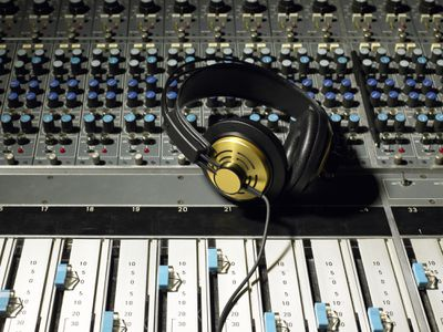 Headphones on a professional sound deck