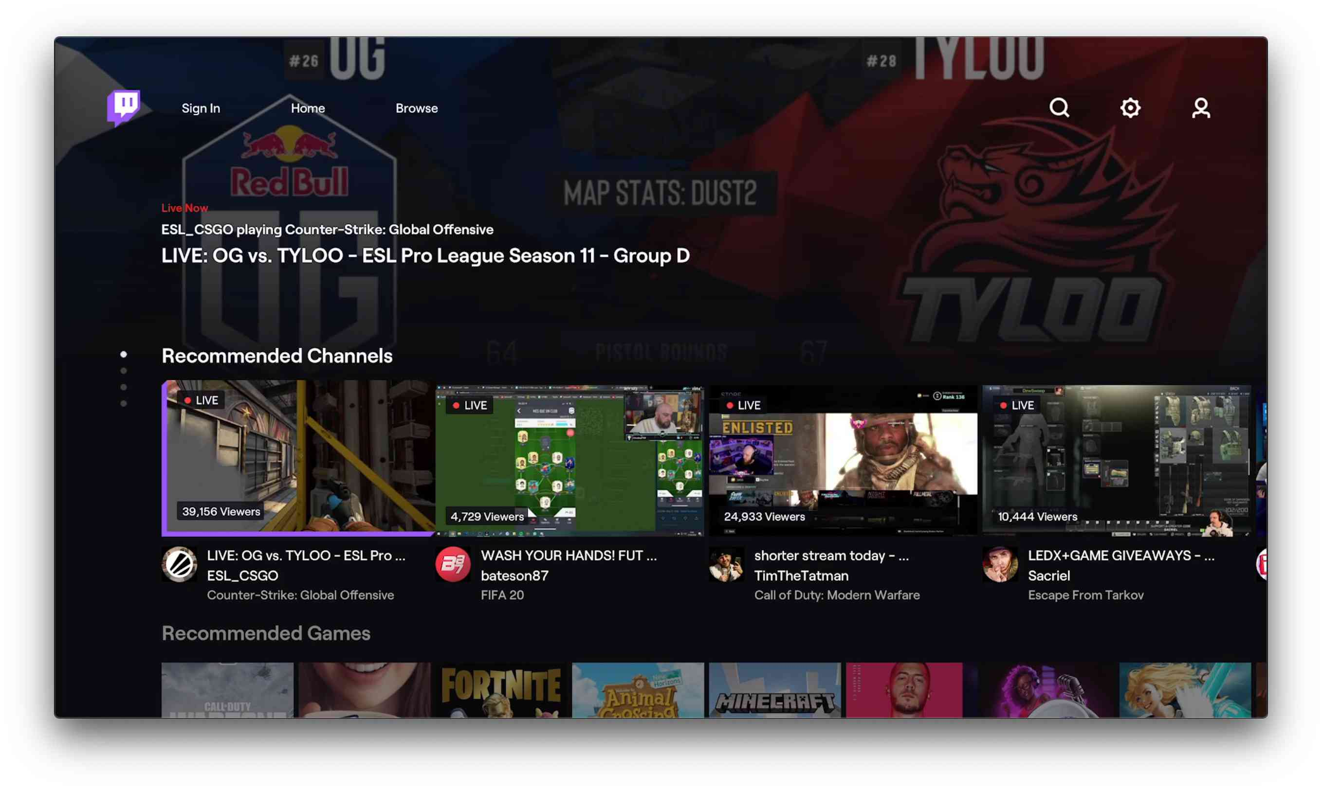 Twitch app for Apple TV