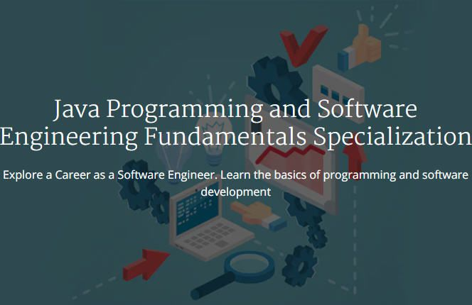 An introductory graphic for Coursera's Java Programming and Software Engineering course