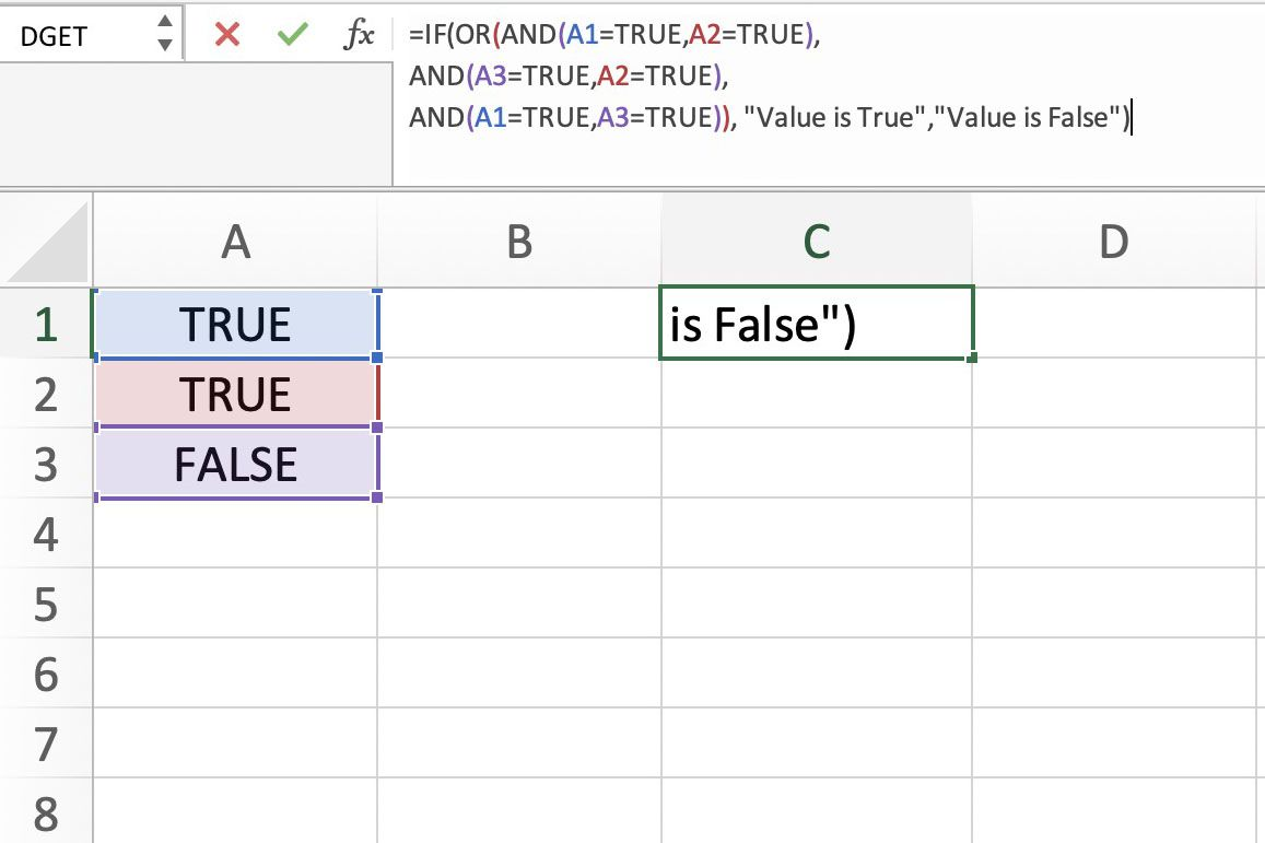 Screenshot of Excel showing the formula bar