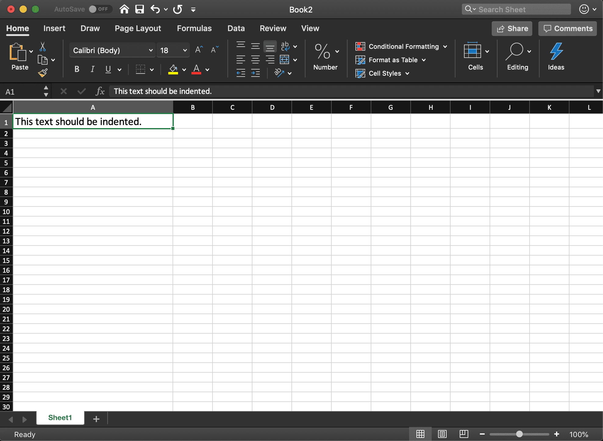 How to Indent in Excel