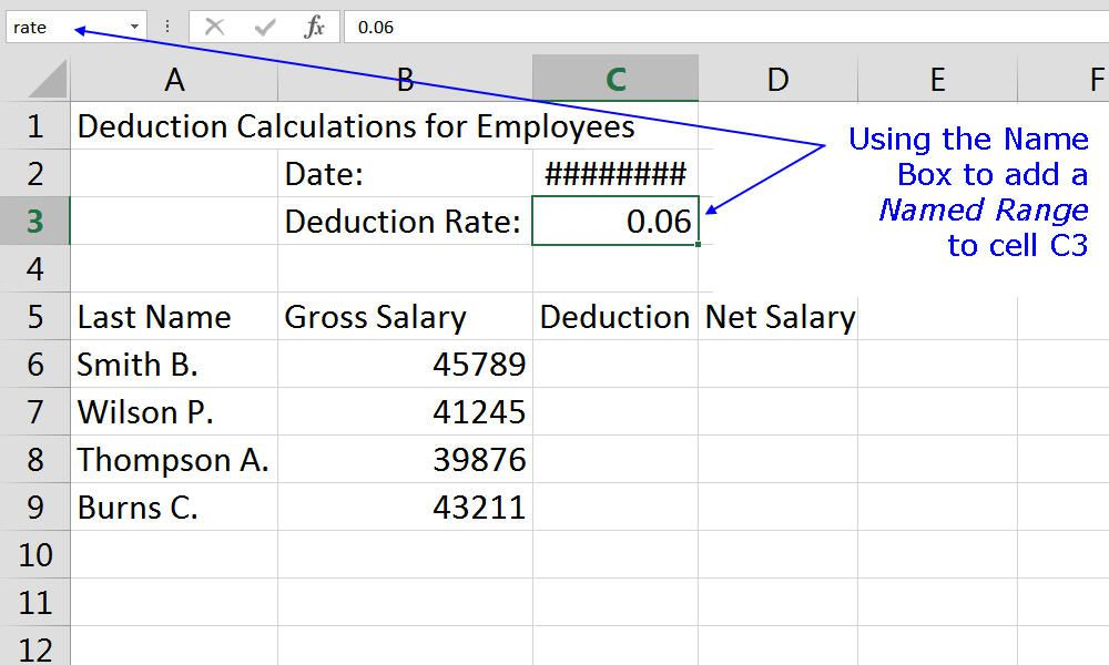 Adding a named range to an Excel worksheet