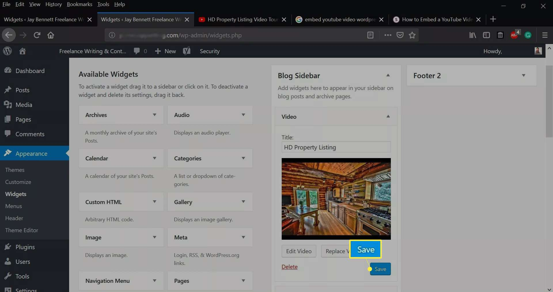 Save on the WordPress dashboard