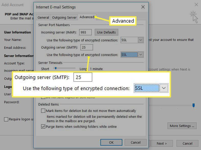 Outlook Advanced IMAP settings