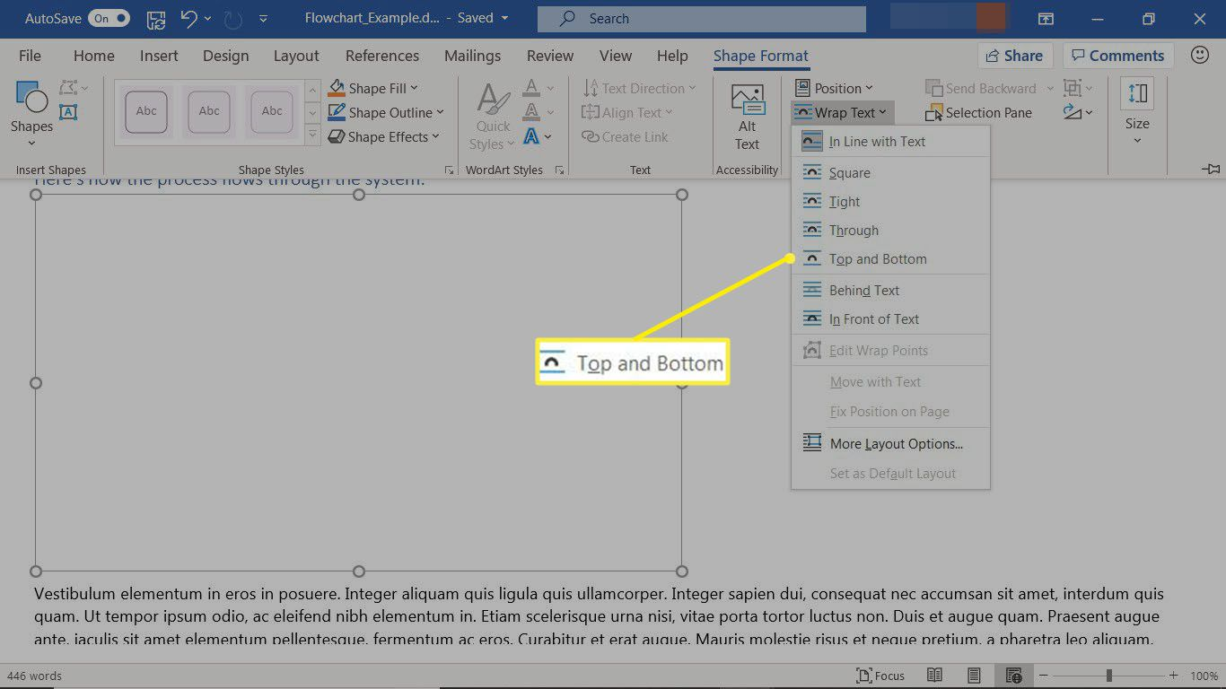 Wrapping text around a drawing canvas in Microsoft Word