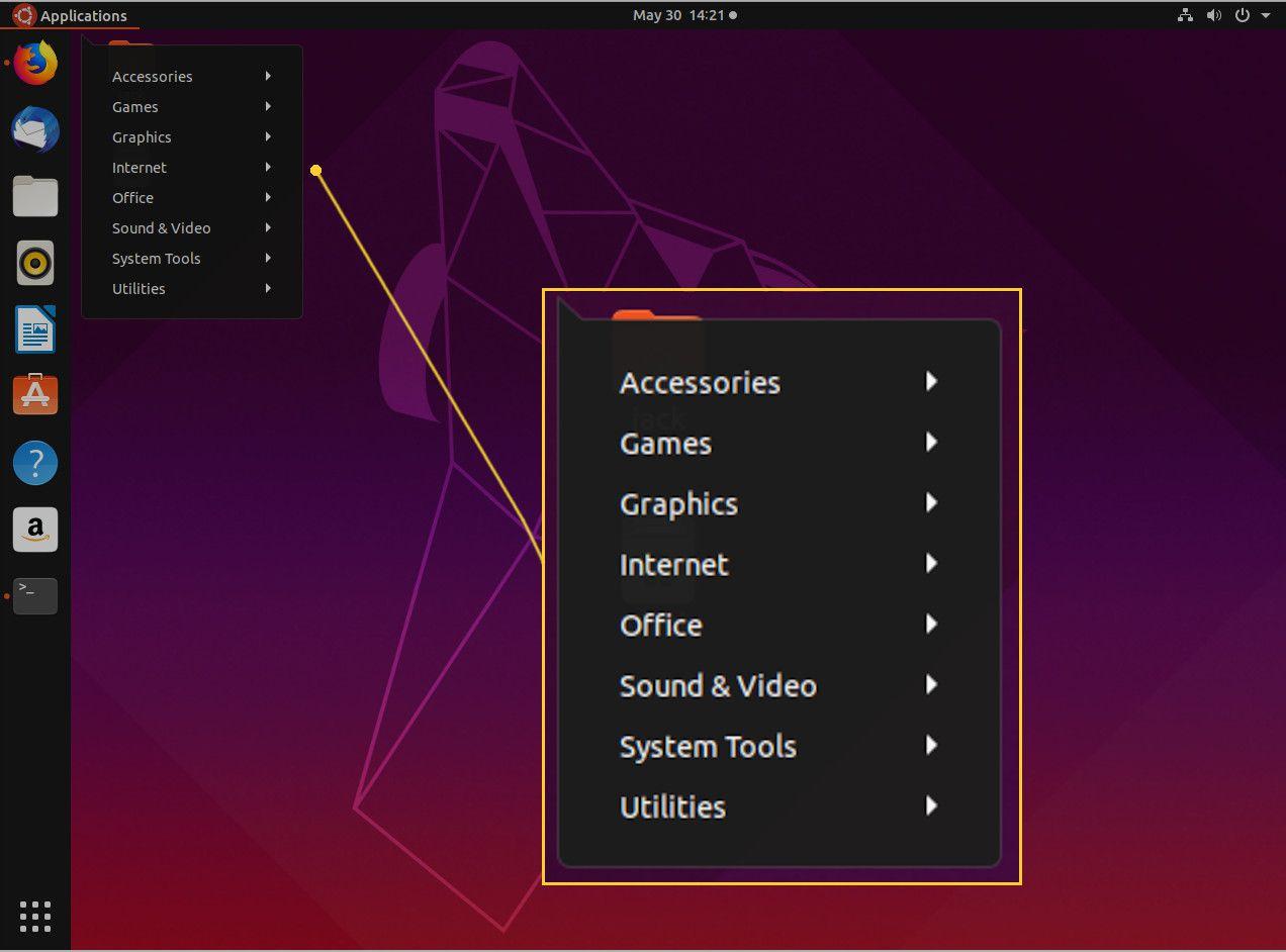 Screenshot of the new GNOME Application menu.