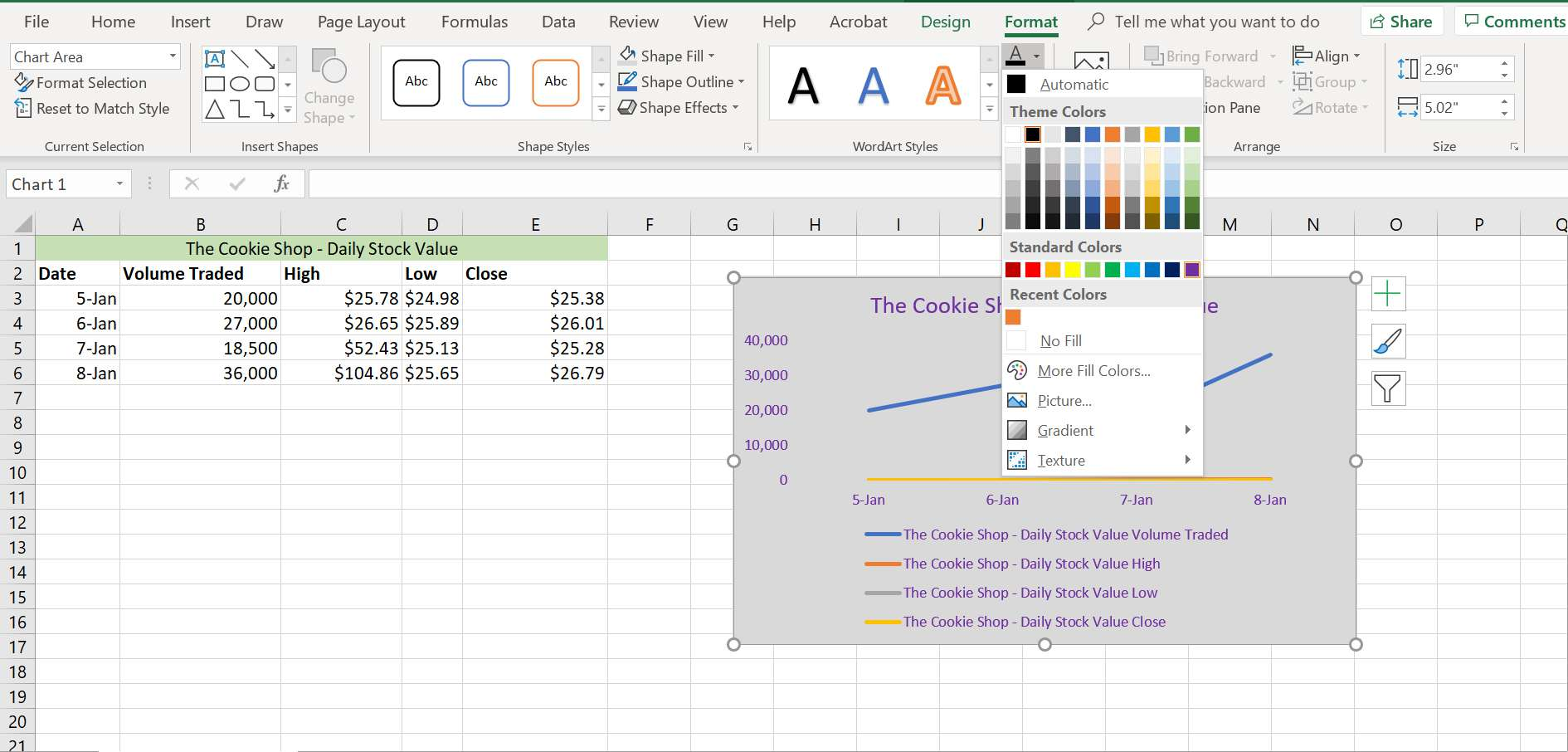 Excel's text fill options.