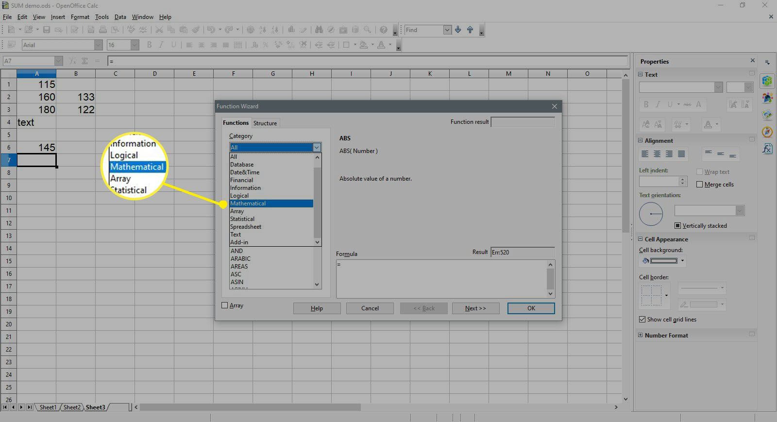 Selecting the Mathematical category in OpenOffice Calc.