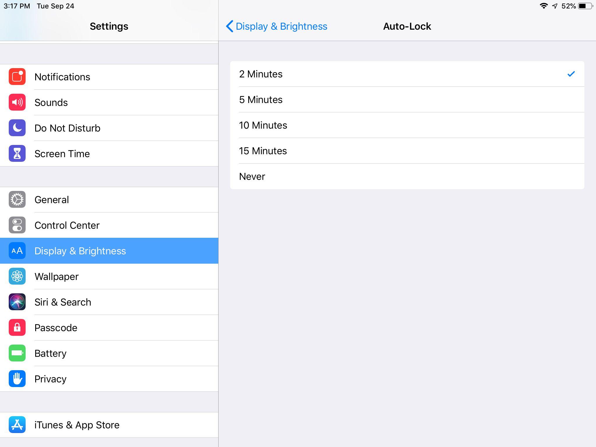Auto-Lock options on the iPad with iOS 12