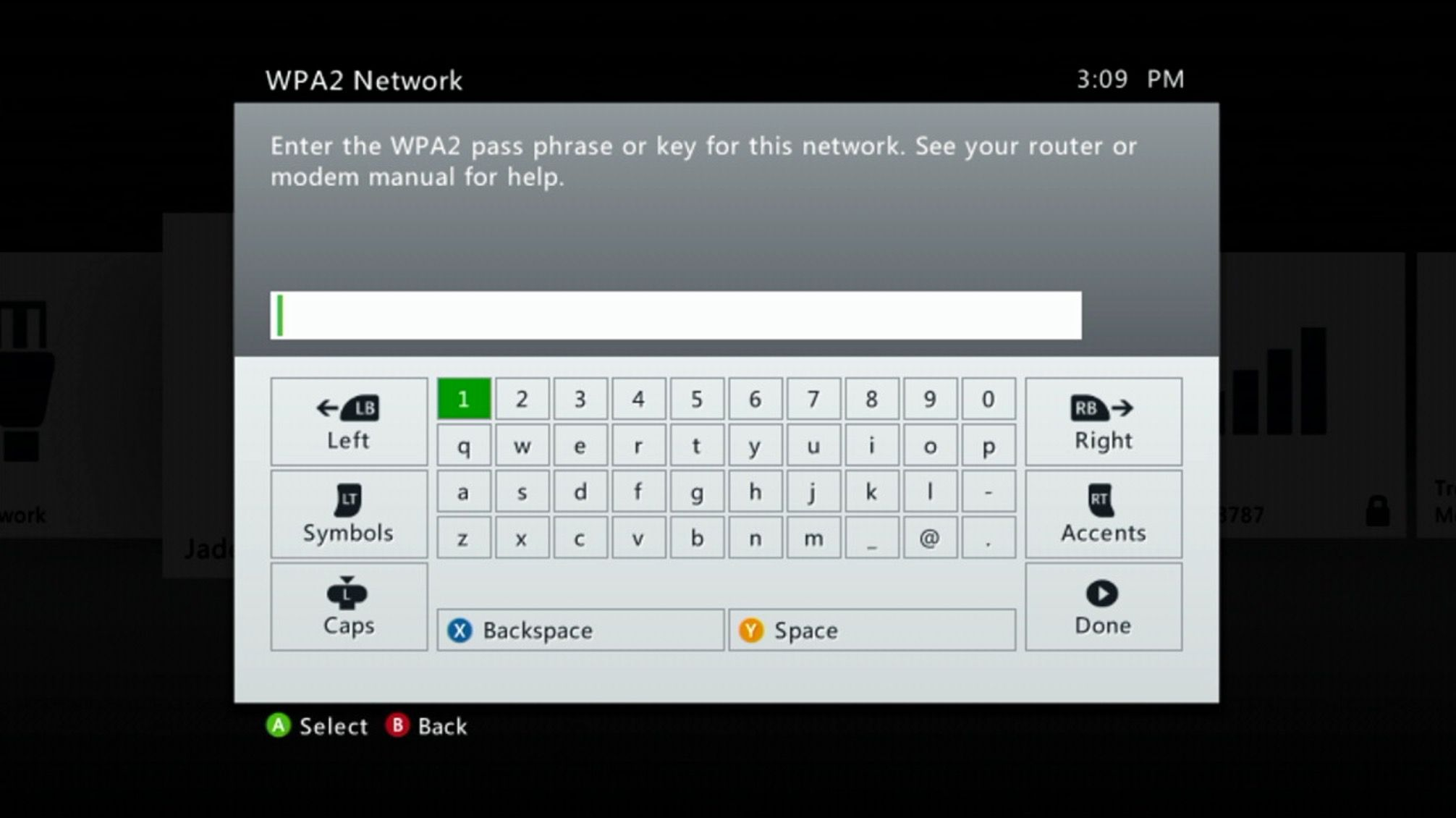 Network password on an Xbox 360