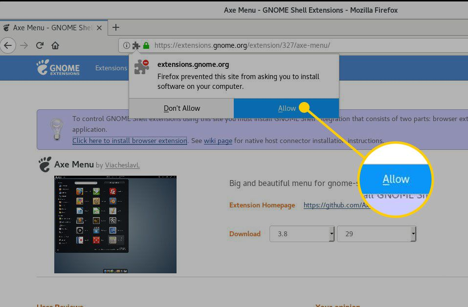 Allow button in GNOME shell extensions