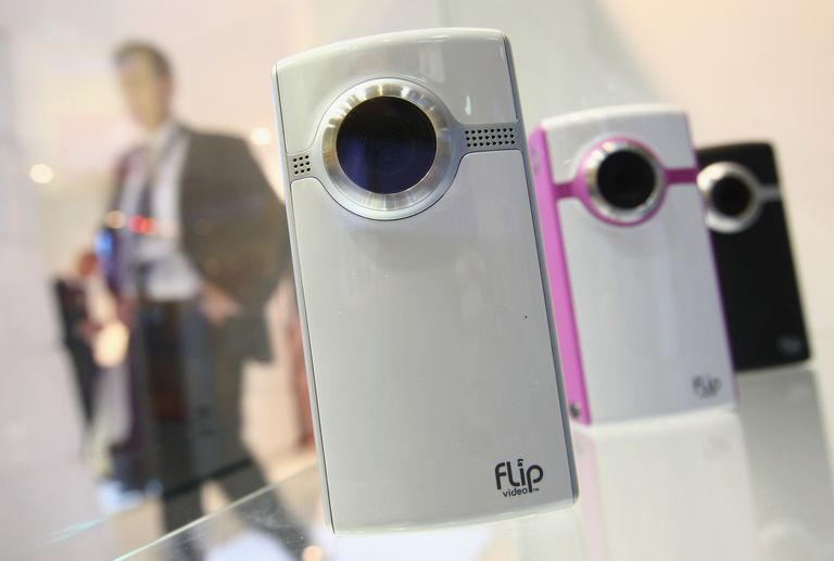 IFA Technology Fair close up of pocket camcorders