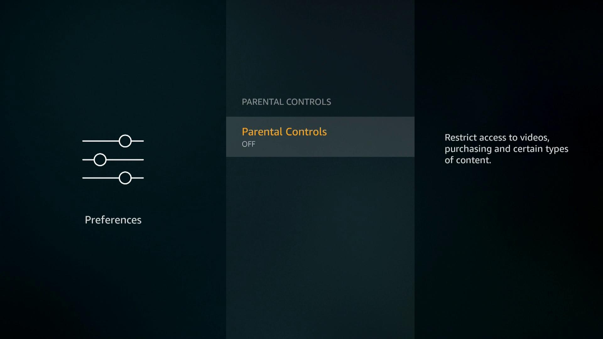 A screenshot of activating Firestick parental controls.