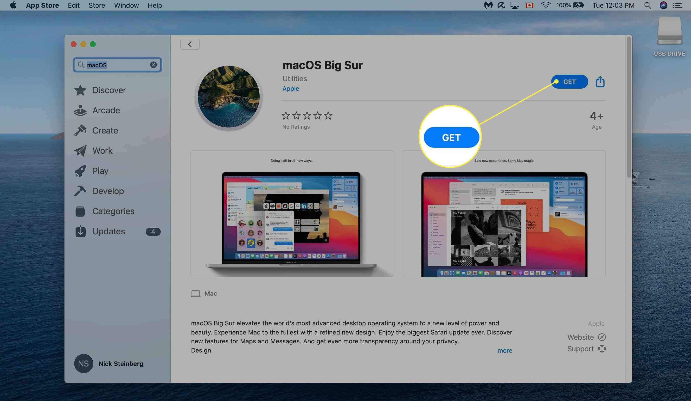 Downloading MacOS Big Sur from App Store.