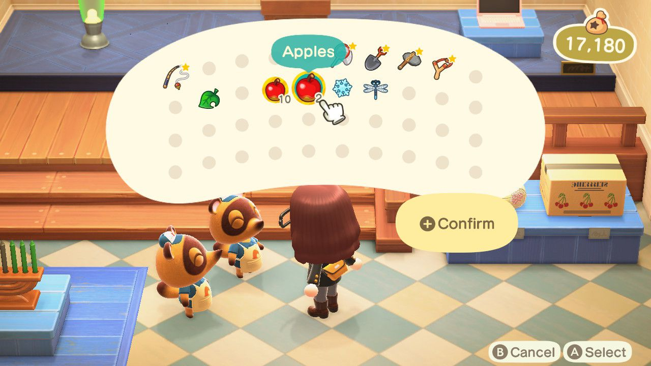 Selling non-native fruit in Animal Crossing.