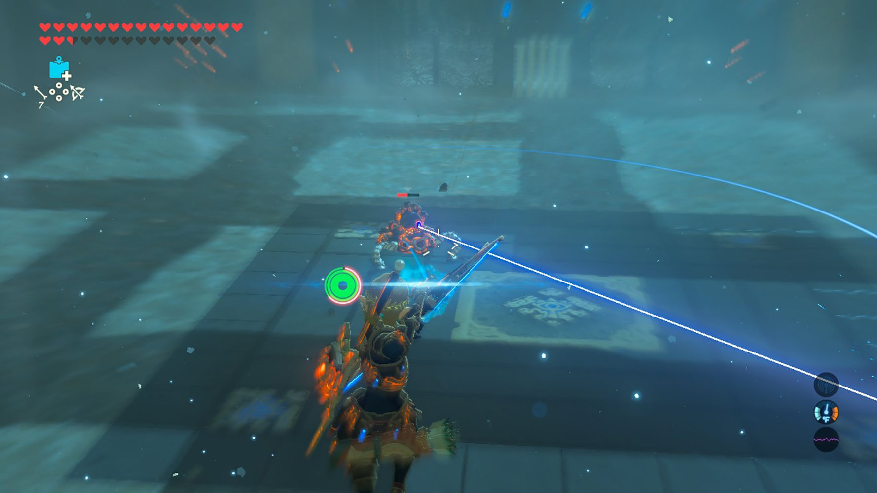 Screenshot of shooting a Guardian with an arrow in Breath of the Wild