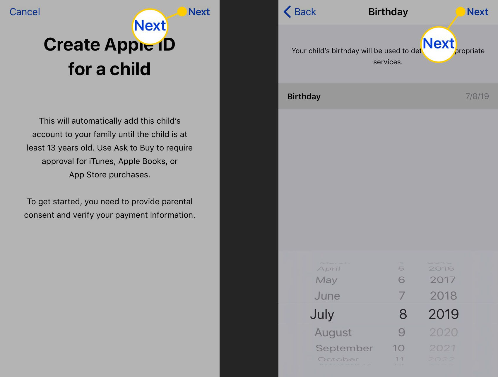 Entering a birthday for a child's Apple ID