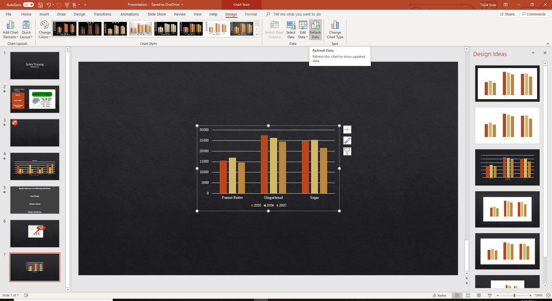 Refresh chart data in PowerPoint
