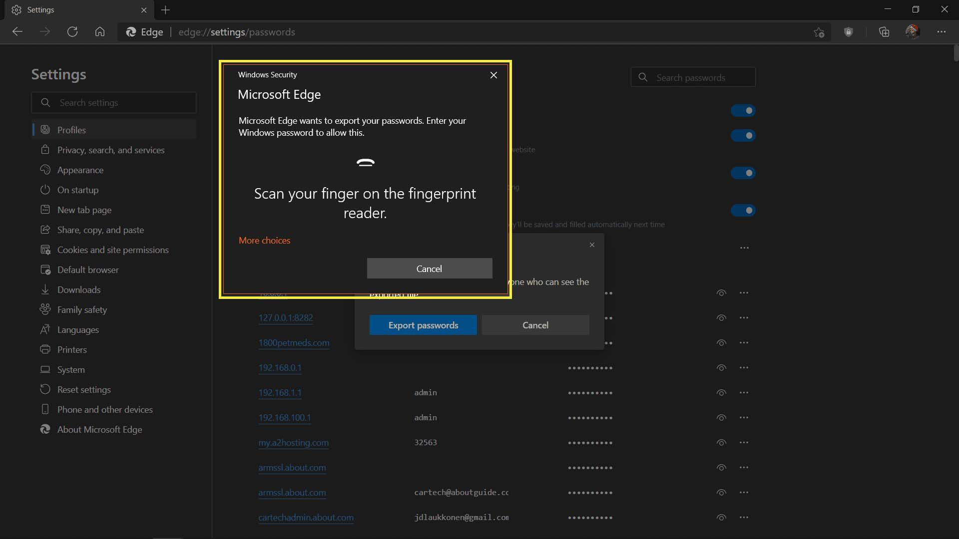 Window for entering password or scanning your finger in MS Edge.