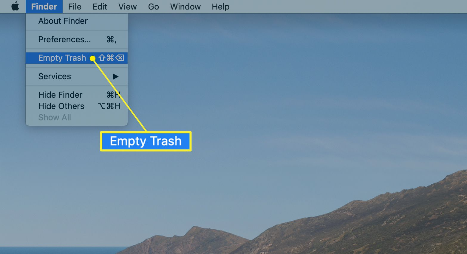Finder menu with Empty Trash selected