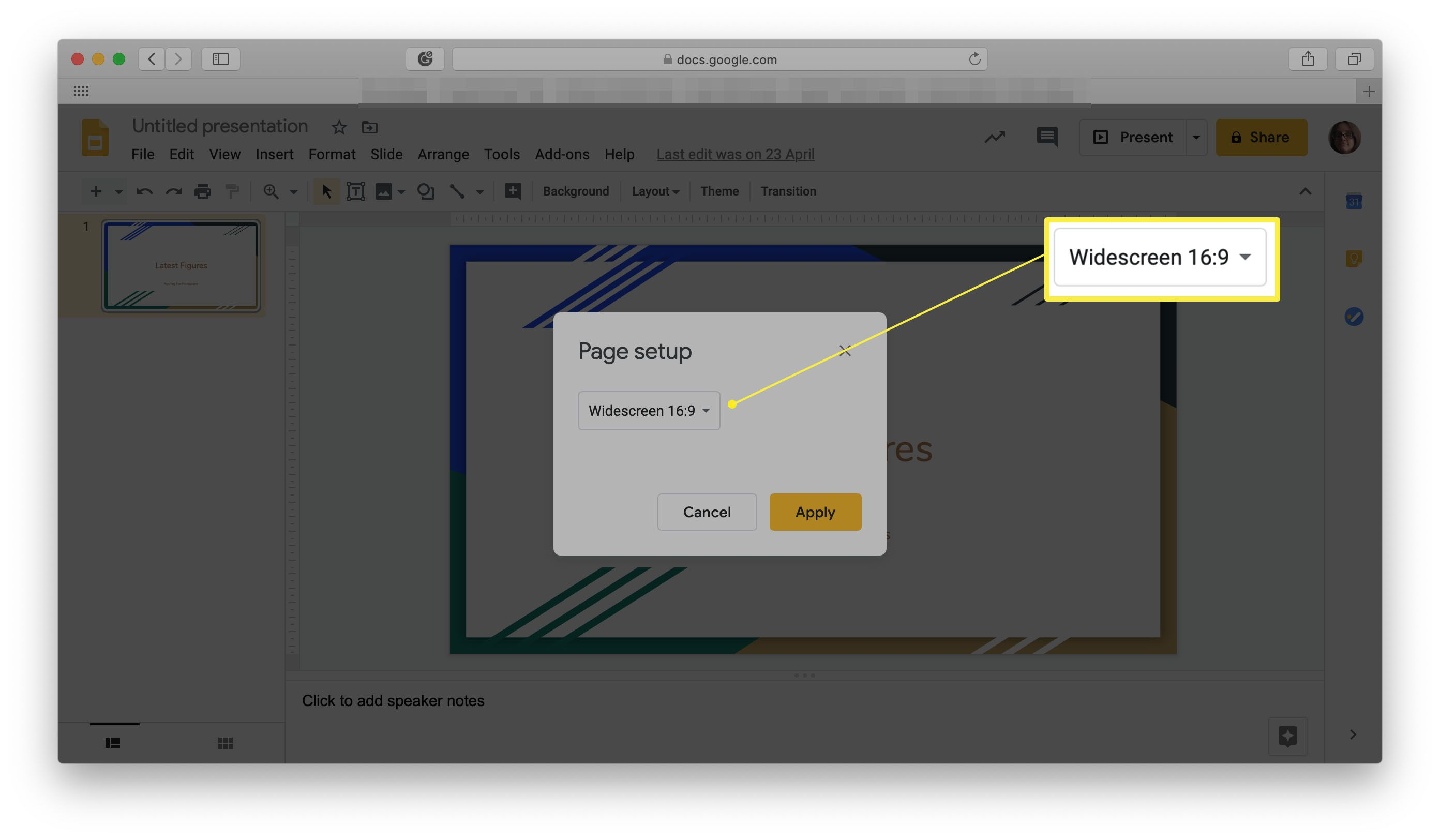 Google Slides with Page Setup menu open