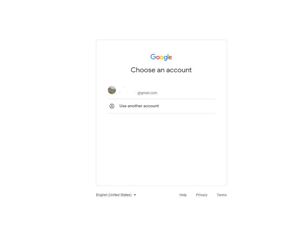 Screenshot of Google account sign in page