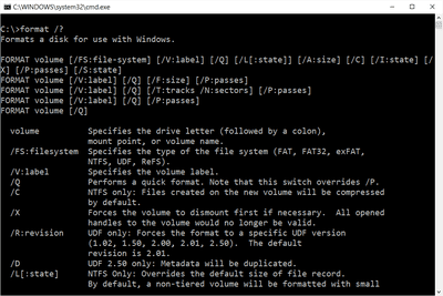 Screenshot of the format command in Windows 10 Command Prompt