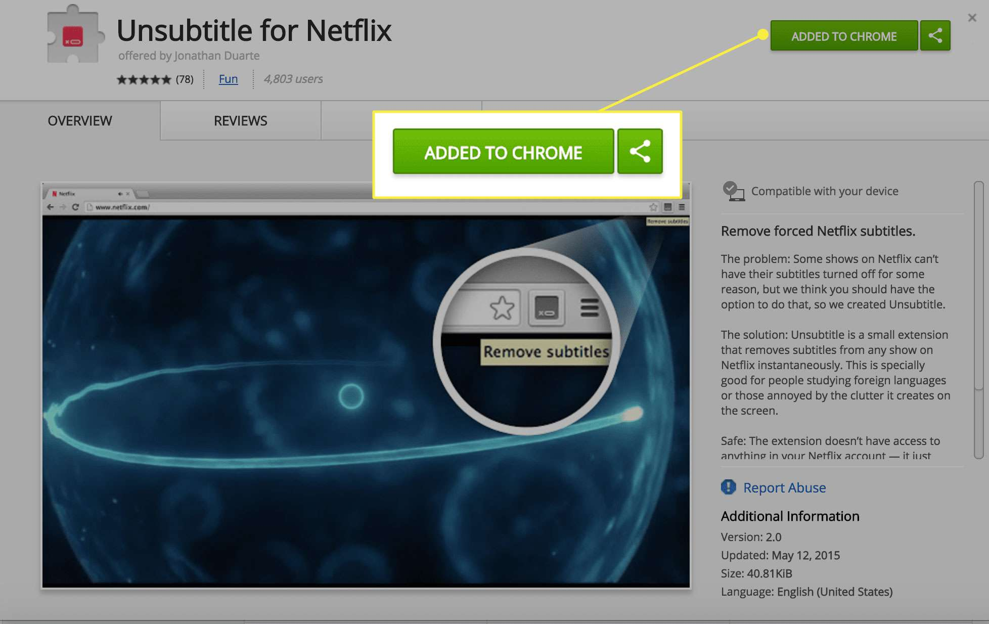 A screenshot of the Unsubtitle for Netflix Chrome extension page with the Add button highlighted