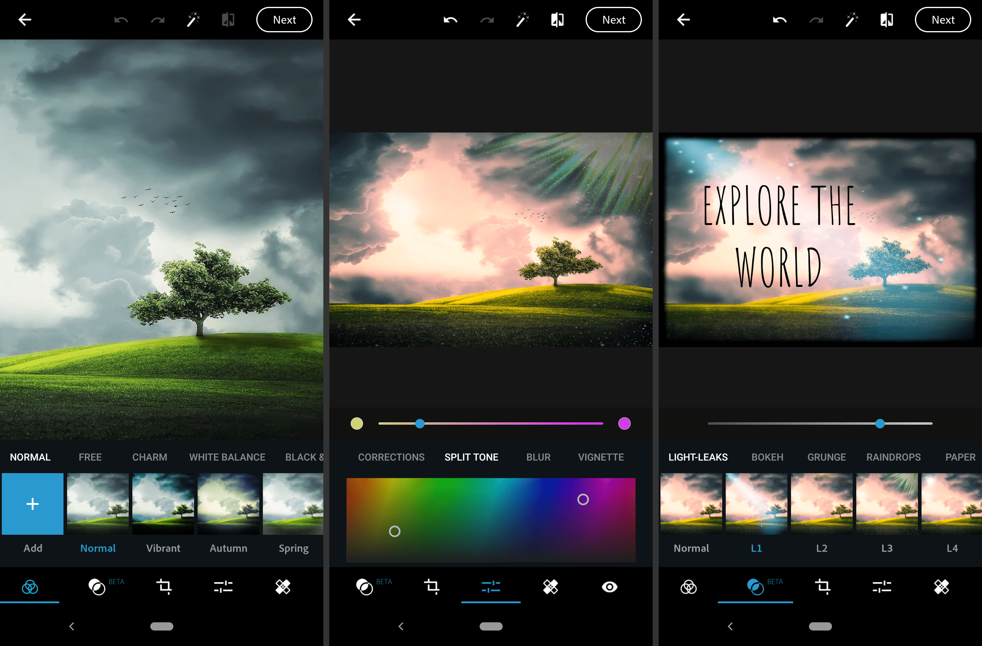 Screenshots of the Adobe Photoshop Express Android image editor