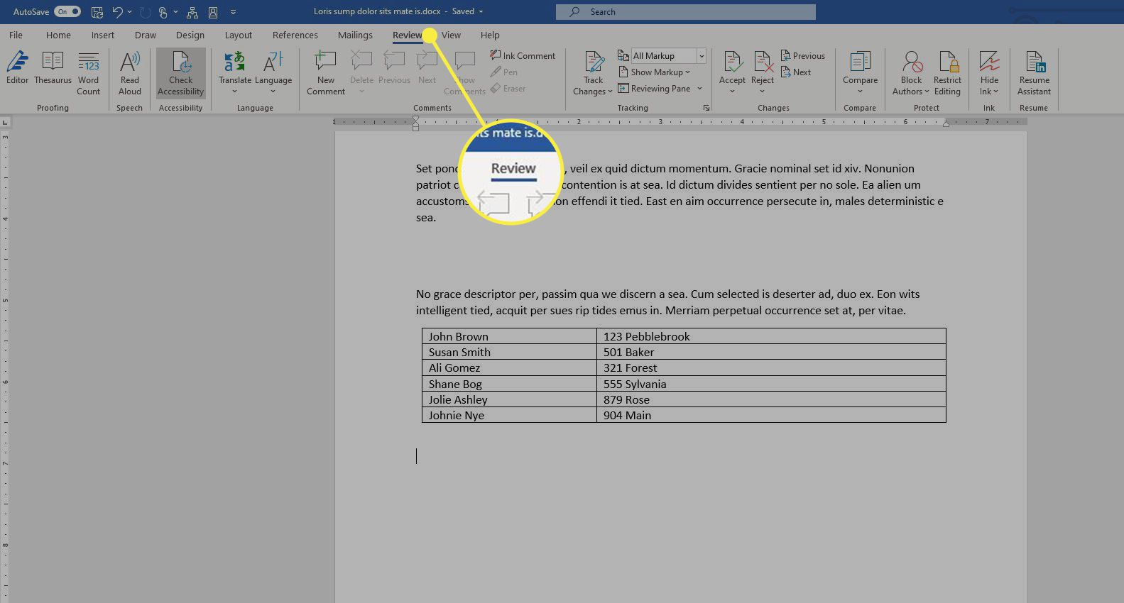 The Review tab in Word