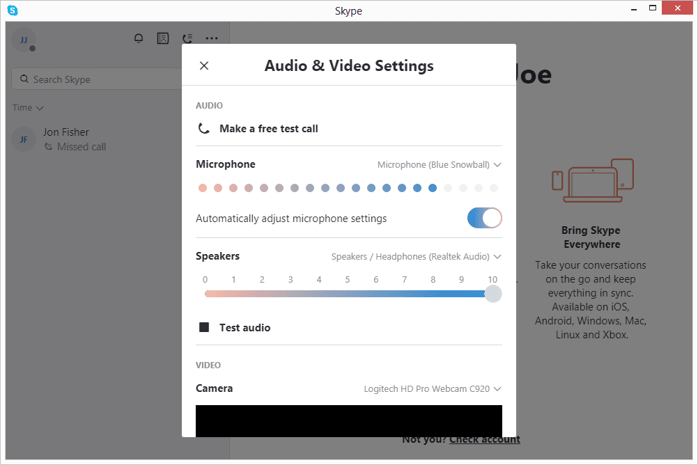 Screenshot of the audio and video settings screen in Skype for Windows