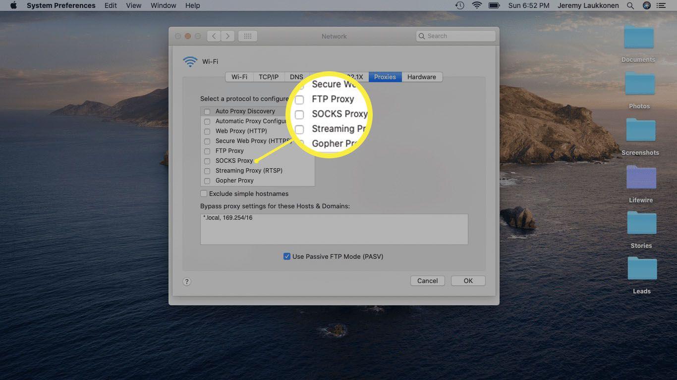 A screenshot of Proxy settings on a Mac.