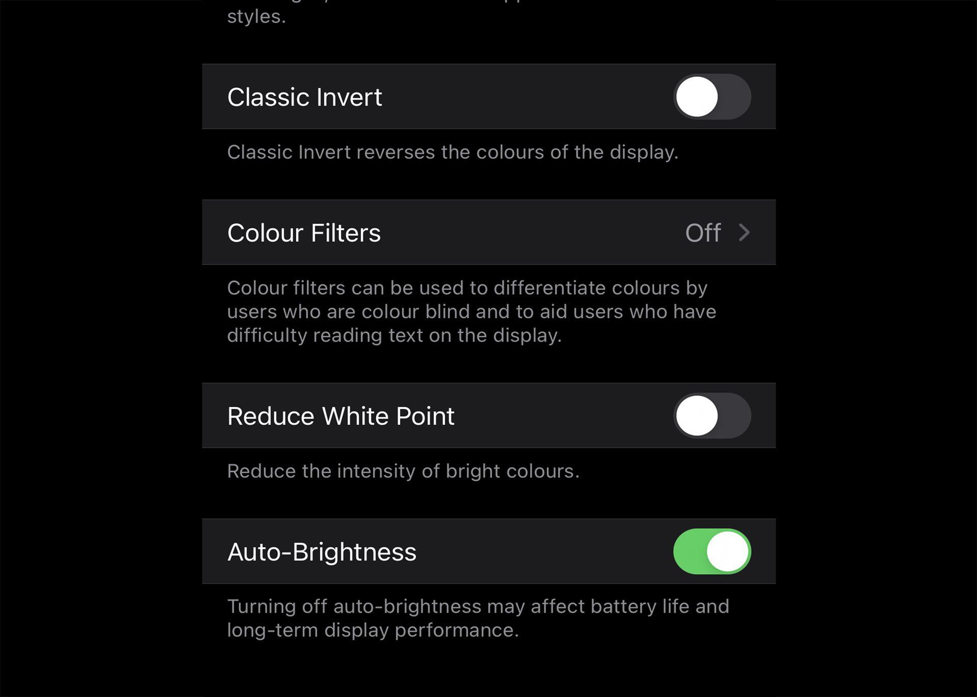 iPhone Auto-Brightness settings.