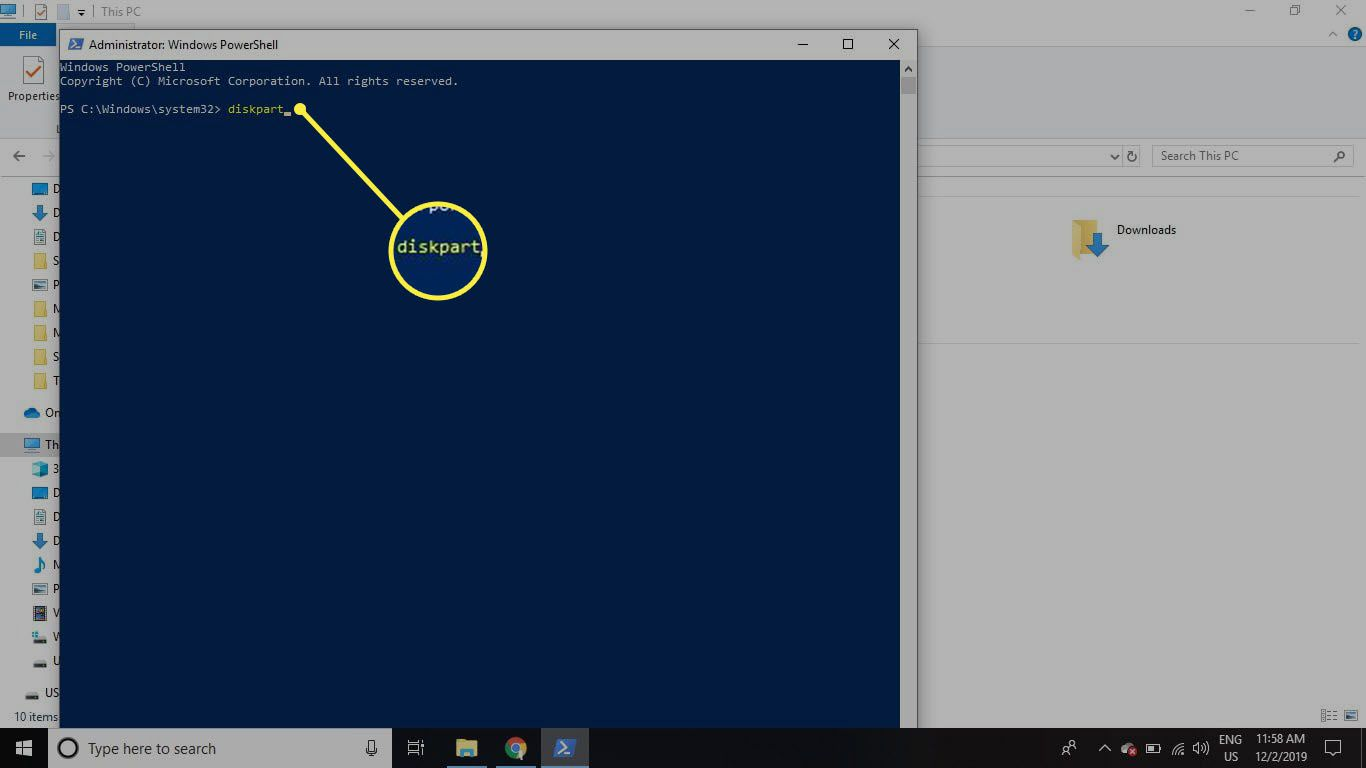 Type diskpart in the Command Prompt window and press Enter.