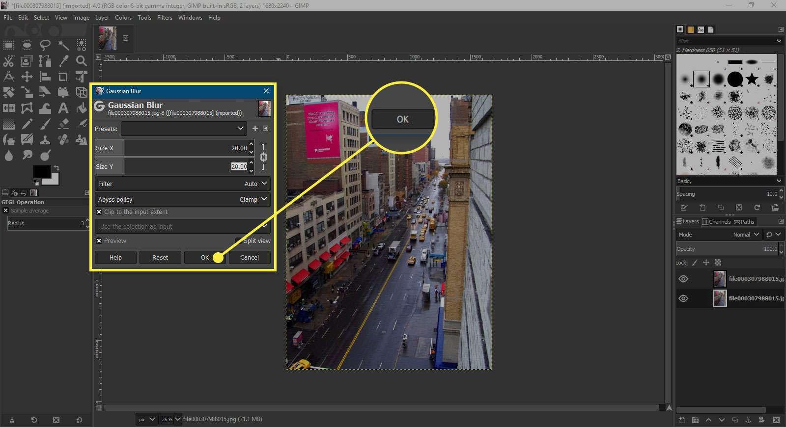 A screenshot of GIMP's Gaussian Blur window with the OK button highlighted
