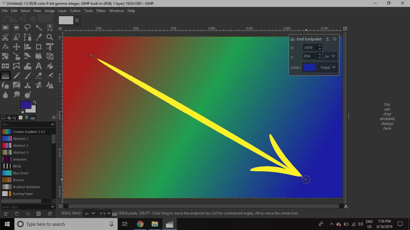 A screenshot of GIMP with the Blend tool applying a gradient
