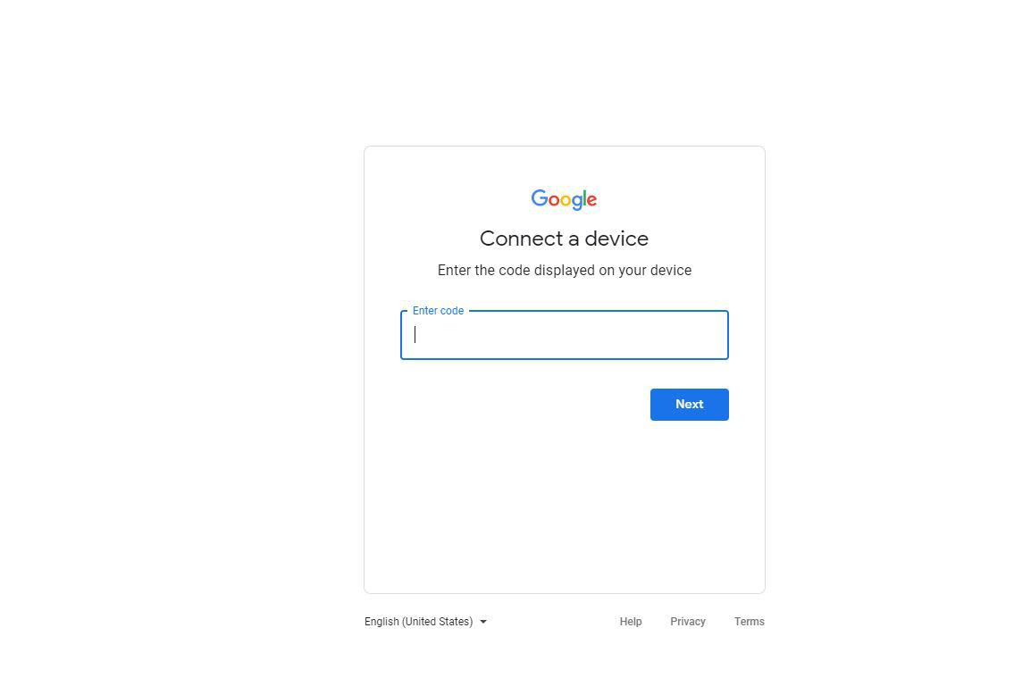 Screenshot of Connect a Device screen